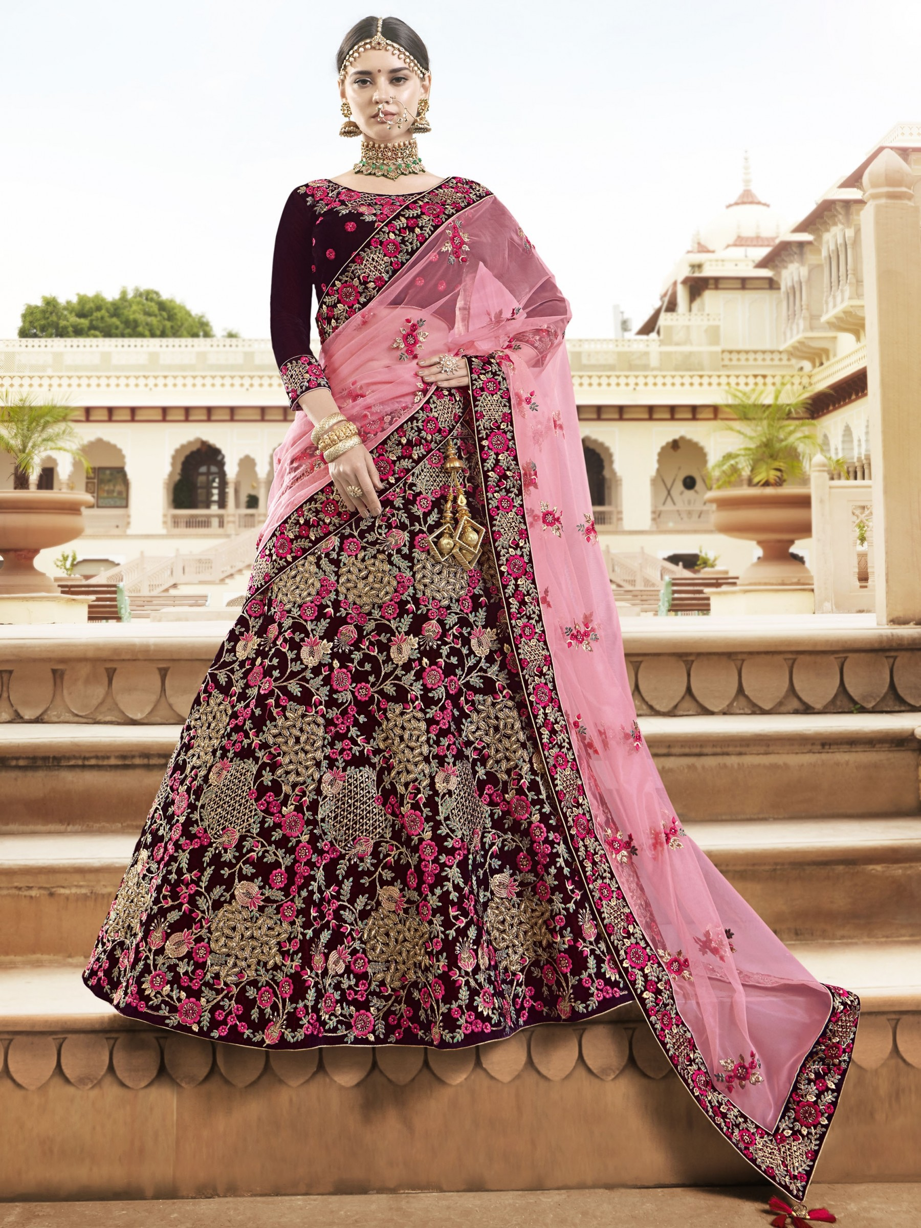 Pure Micro Velvet Bridal Lehenga In Maroon With Zardosi Crystal Stone Work
