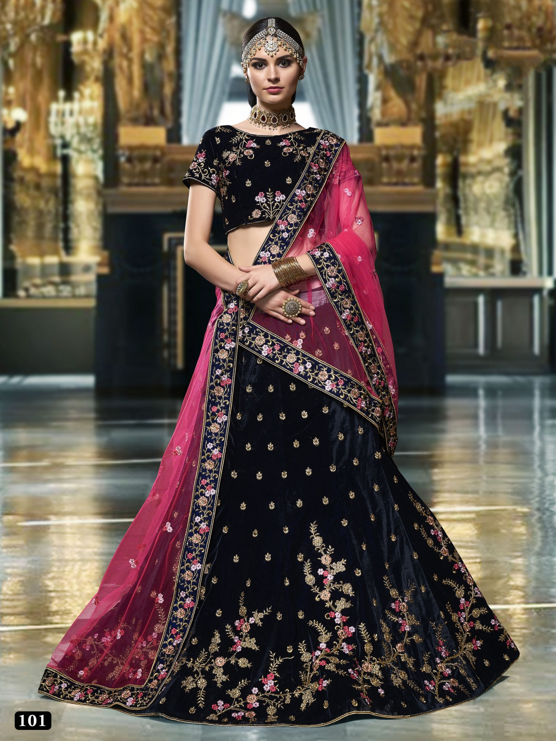 Pure Micro Velvet Wedding Lehenga In Blue With Embroidery Stone Work