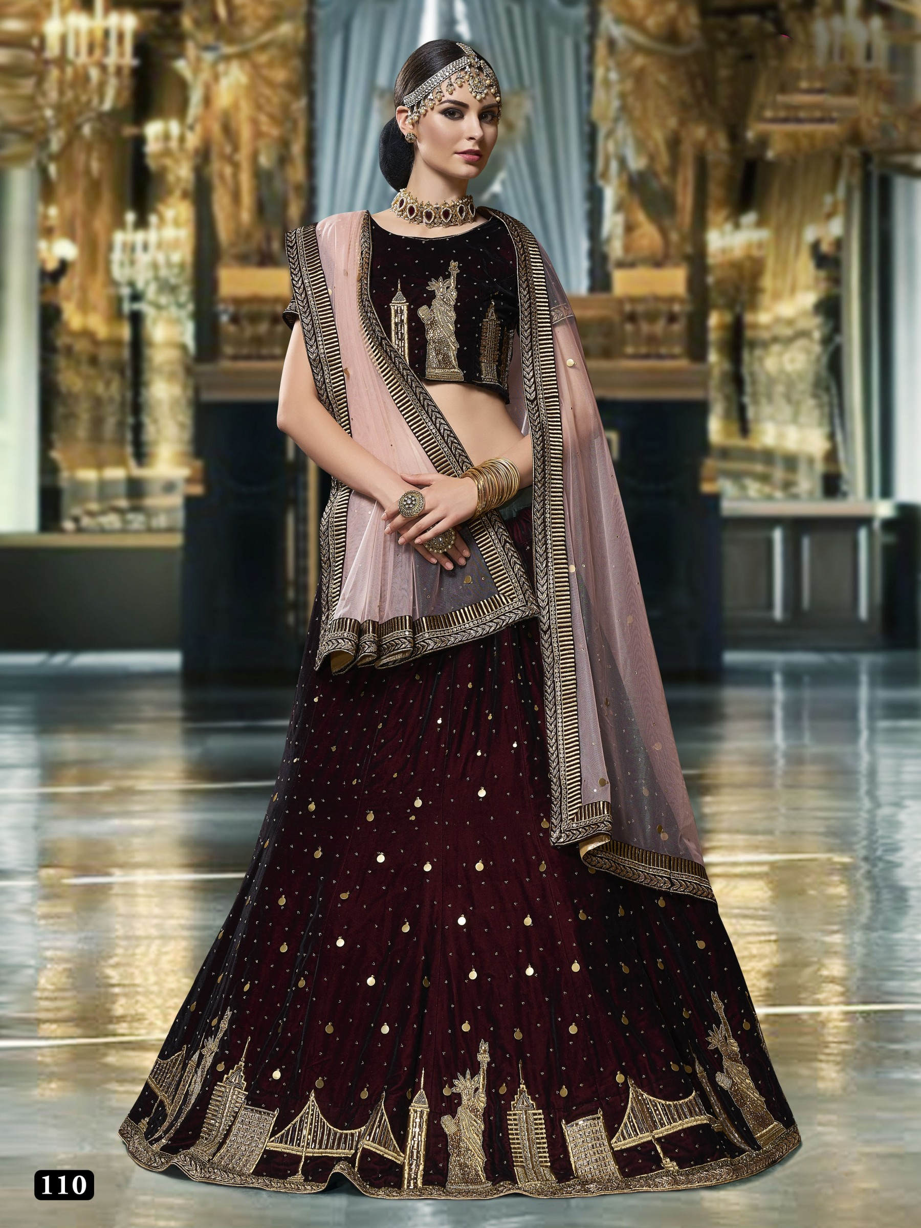 Pure Micro Velvet Wedding Lehenga In Violet With Stone Work