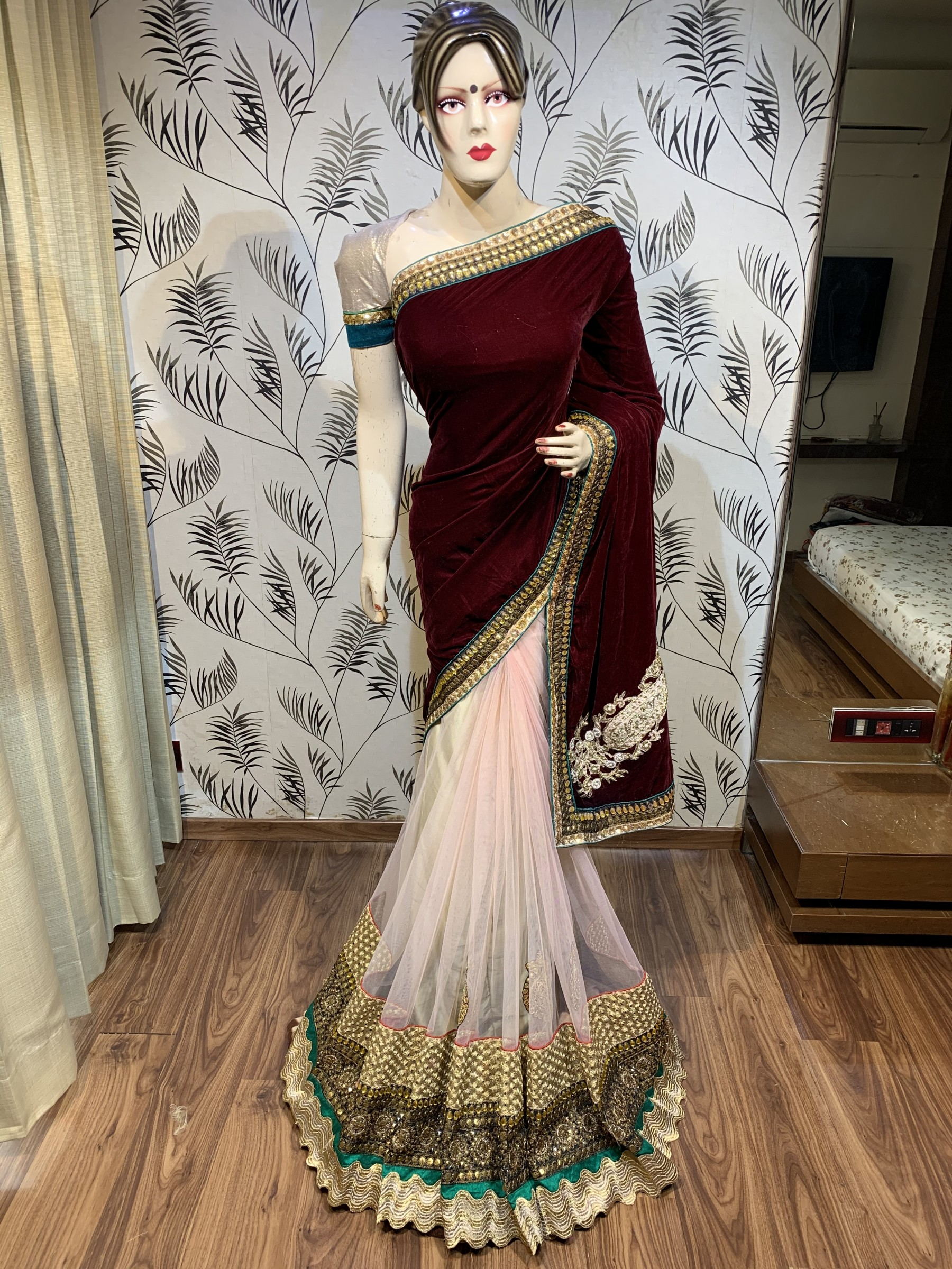 Pure Micro Velvet Party Wear Saree In Maroon With Embroidery Work Crystal Stone Work