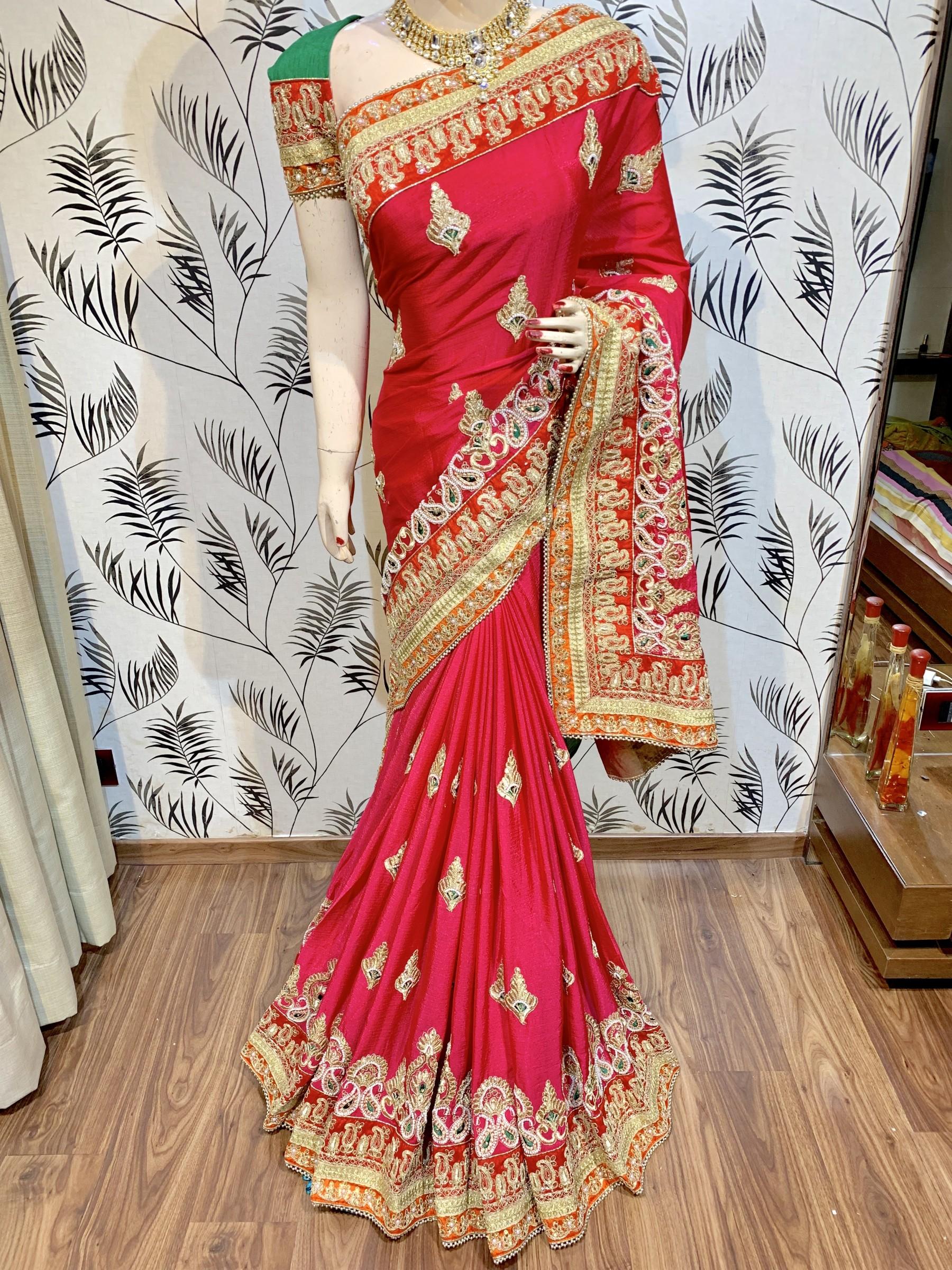 Chinon Chiffon Wedding Wear Saree In Rani With Crystal Stone Work