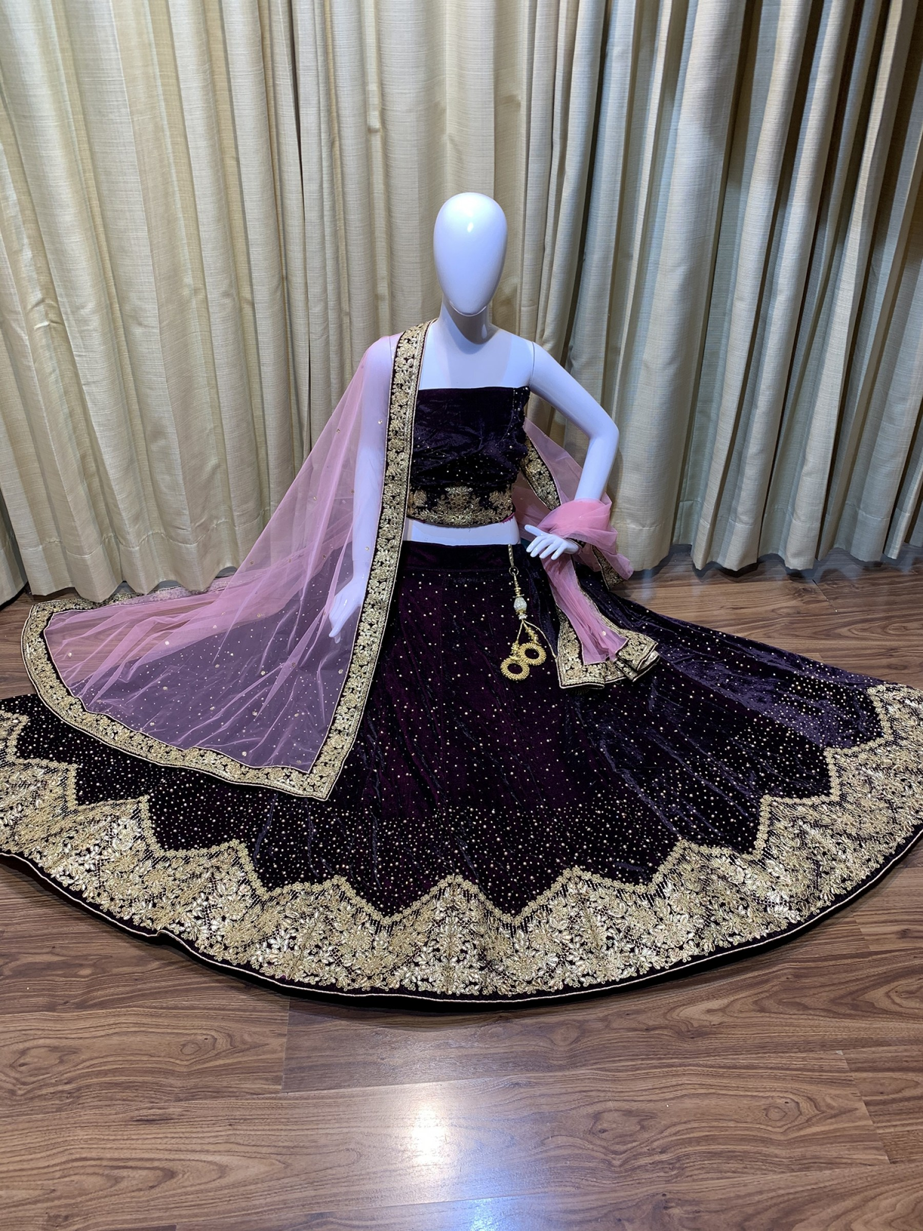 Pure Micro Velvet Wedding Lehenga In Purple With Embroidery & Crystal Stone Work