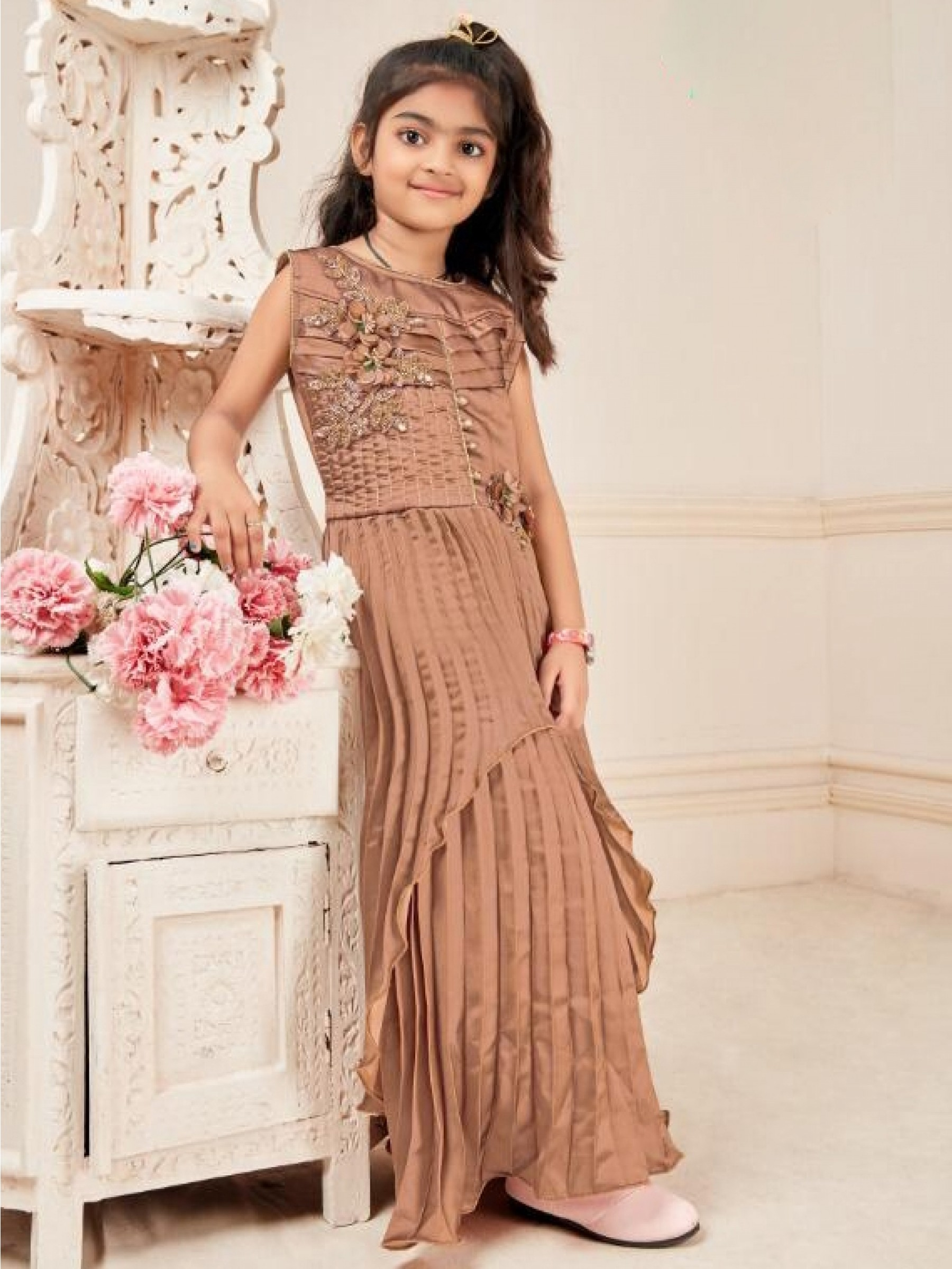 Fancy Imported Fabrics Party Wear Kids Gown In Brown WIth Embroidery Work