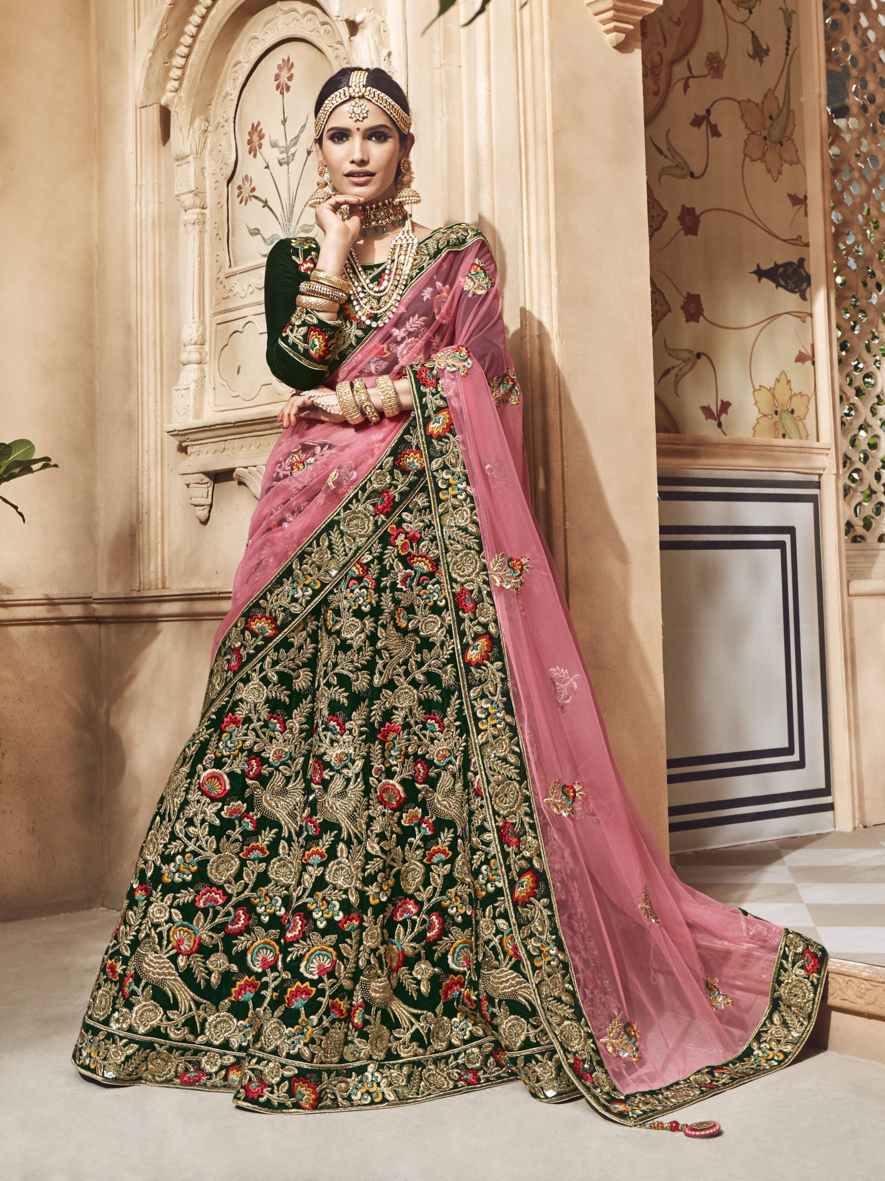 Pure Micro Velvet Bridal Lehenga In Green With Zardosi & Crystal Stone Work