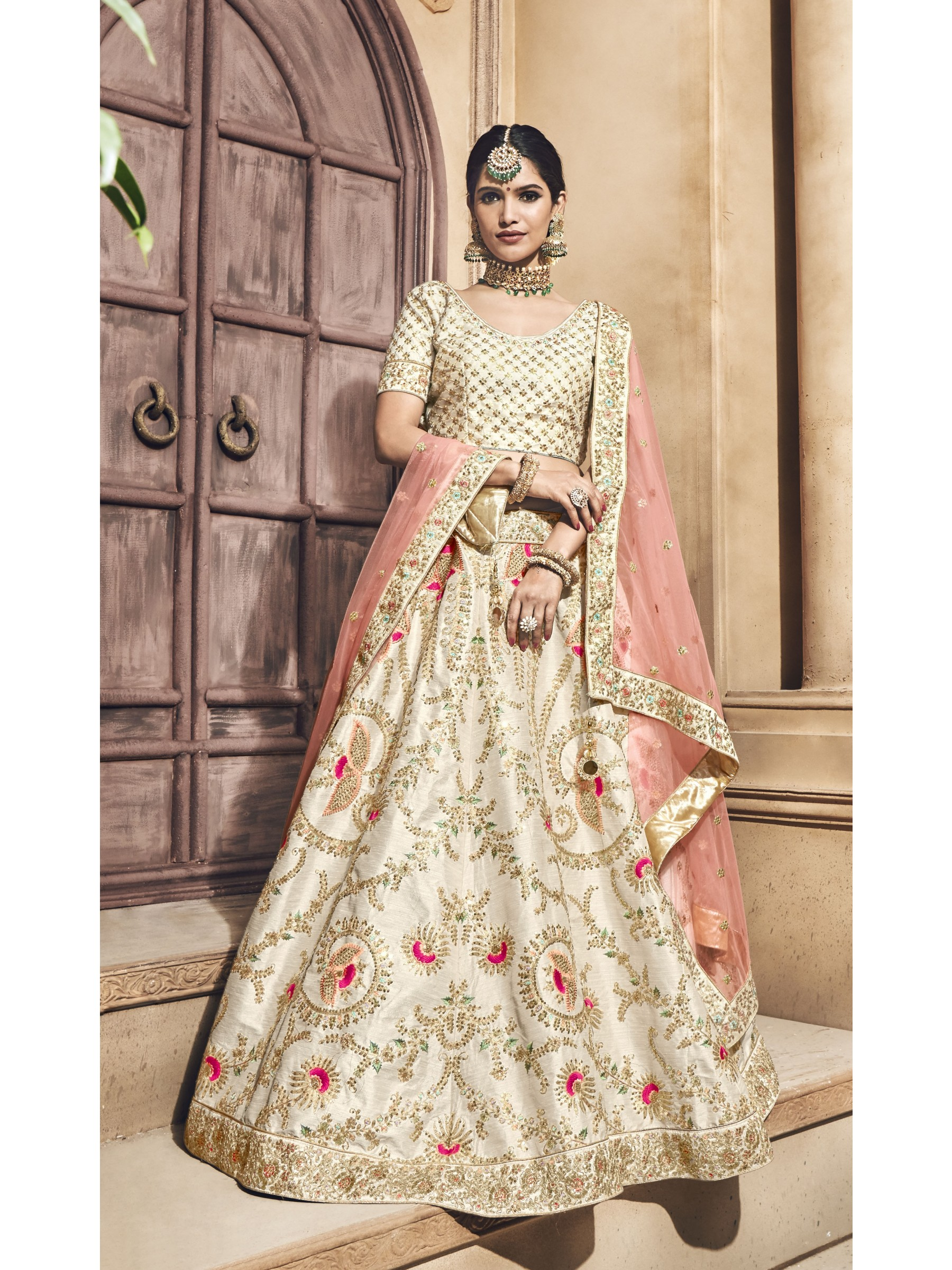 Pure Melbourne Silk Wedding Lehenga In Cream With Sequence Work