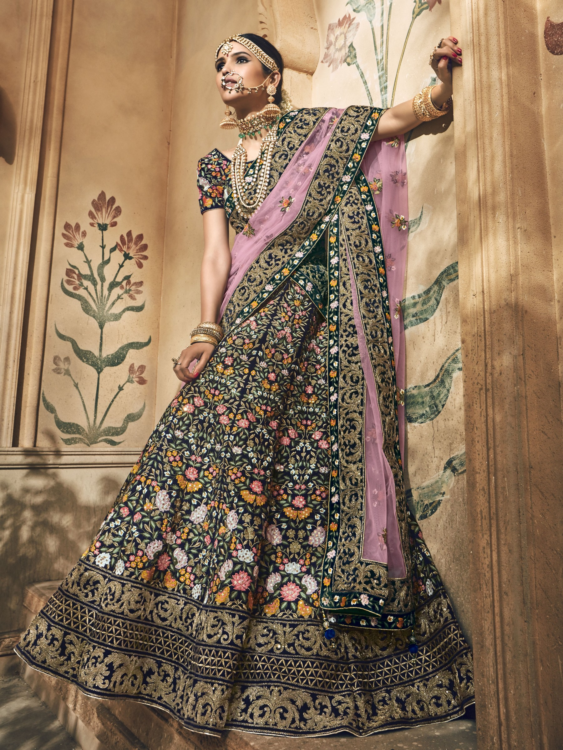 Pure Micro Velvet Bridal Lehenga In Green With Zardosi & Crystal Stone Work