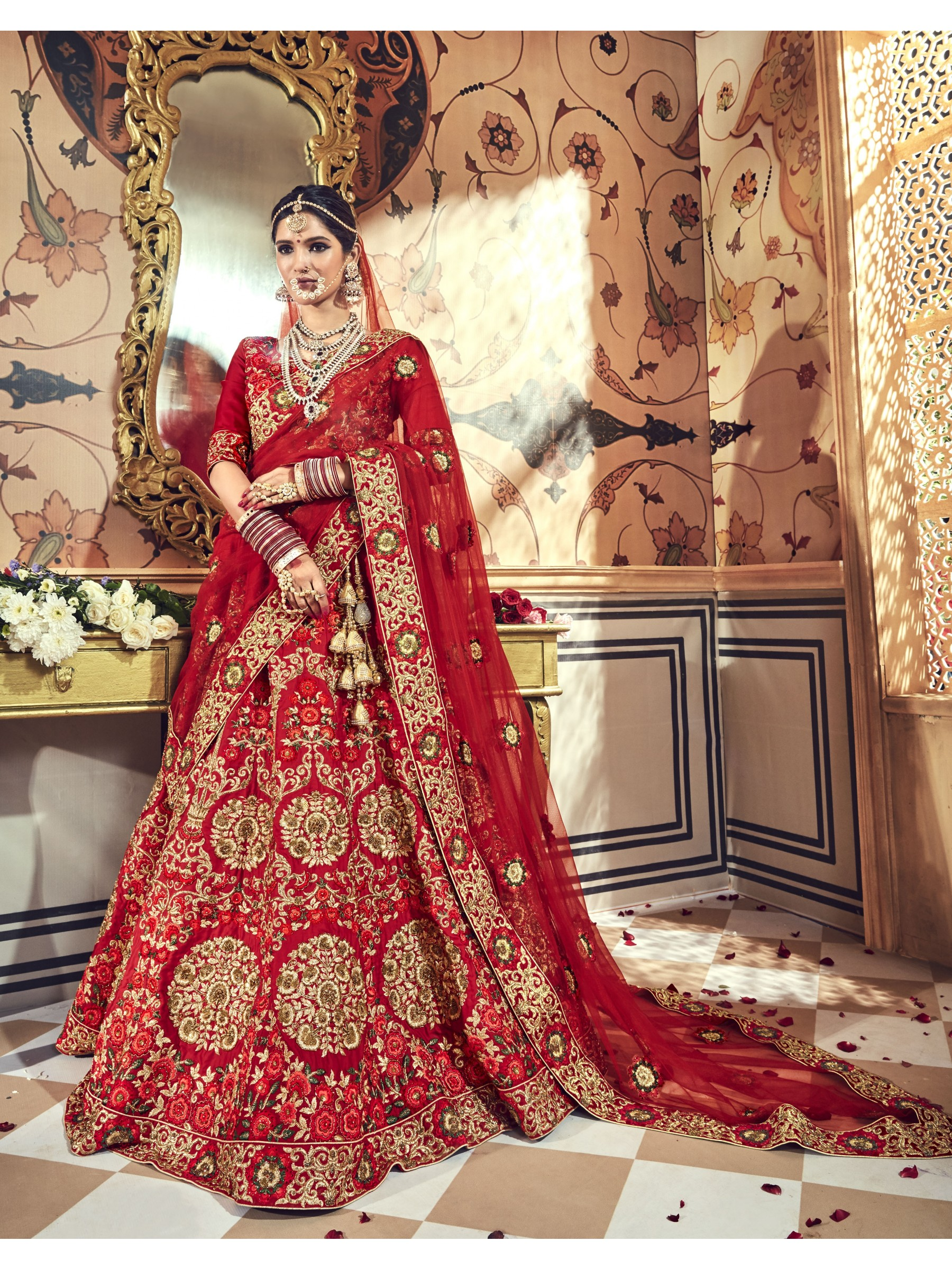 Pure Micro Velvet Bridal Lehenga In Red With Embroidery & Crystal Stone Work