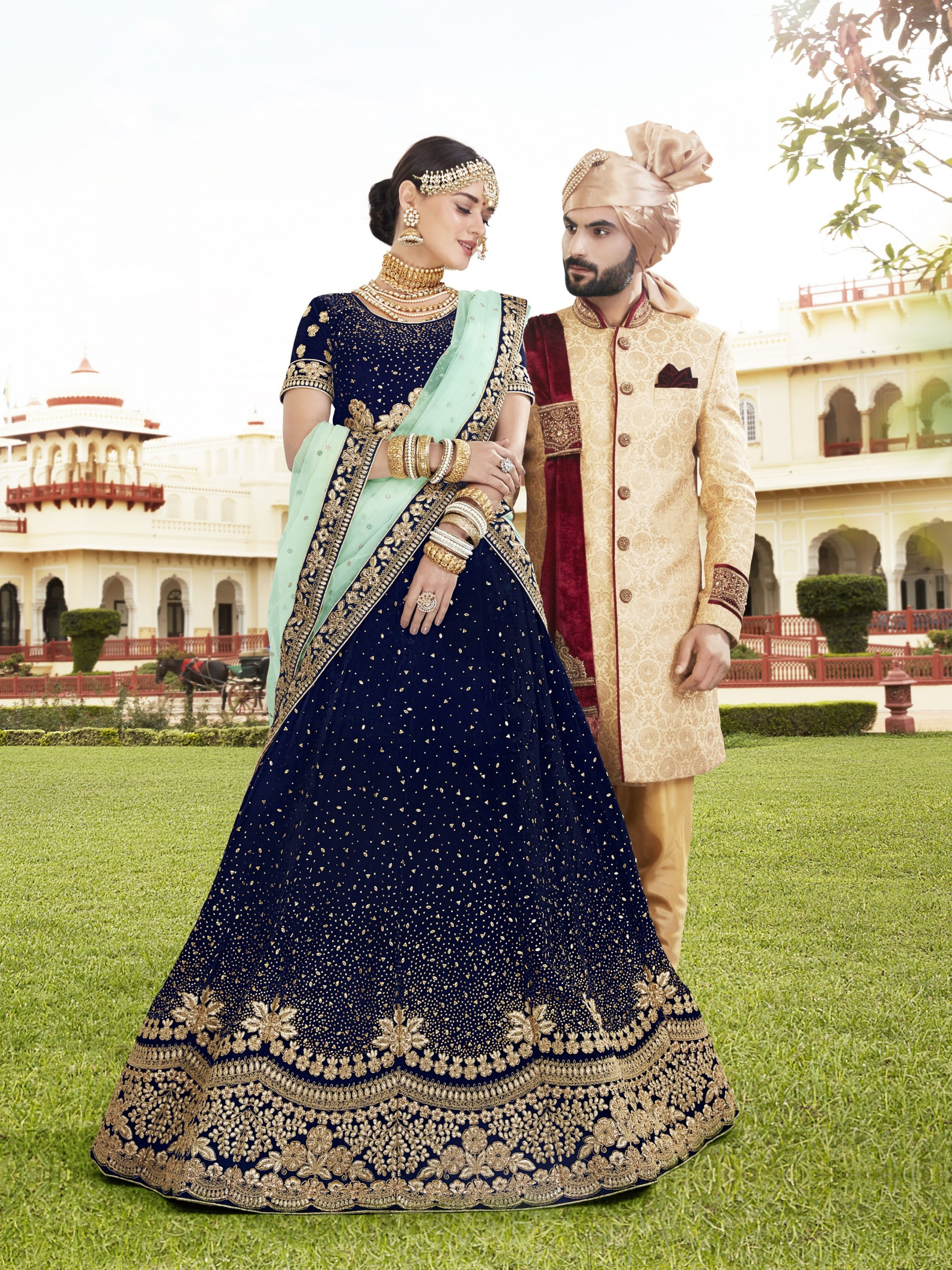 Pure Micro Velvet Wedding Lehenga In Blue With Embroidery & Crystal Stone Work