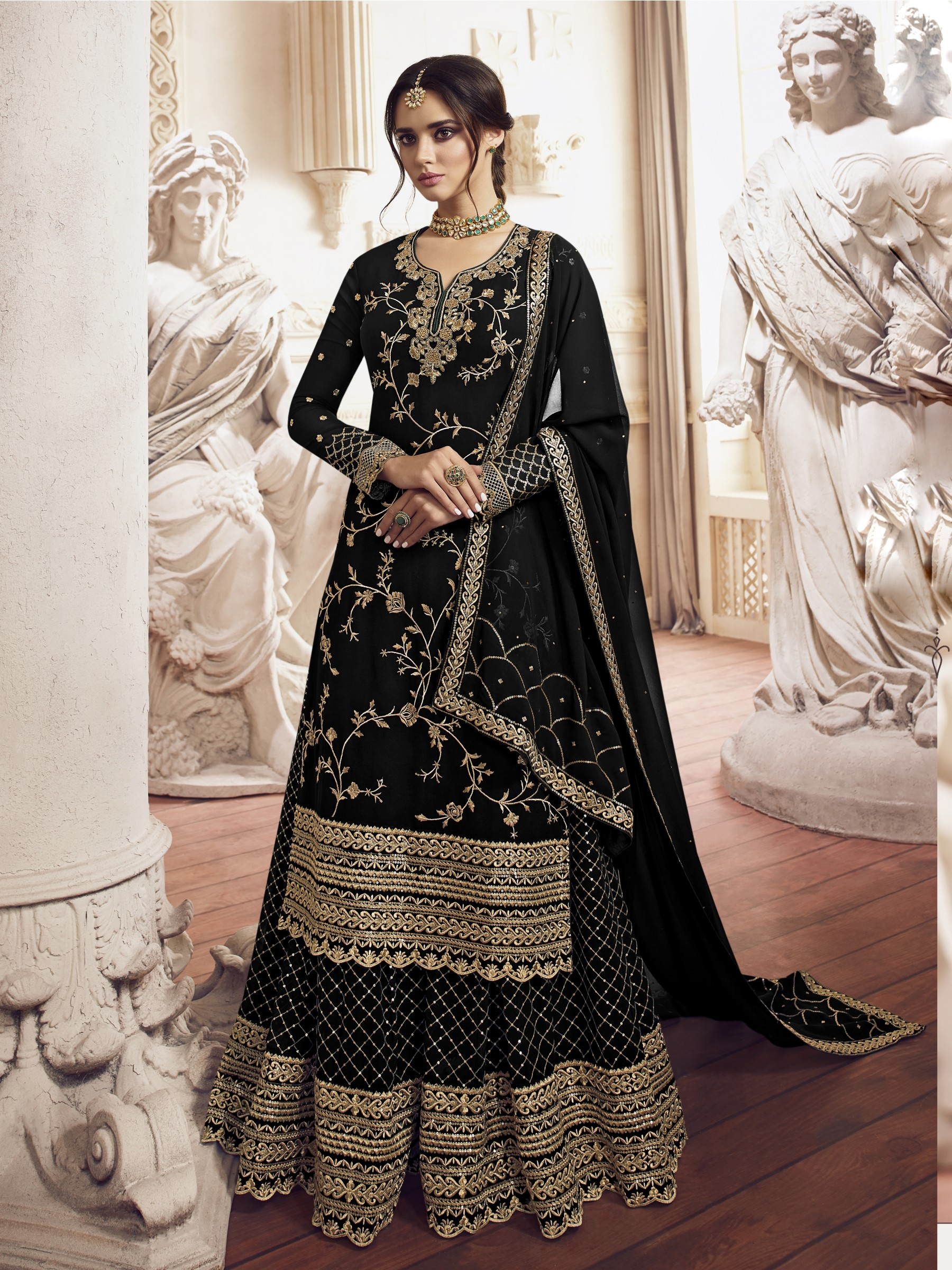 Georgette  Sharara In Black  With Embroidery