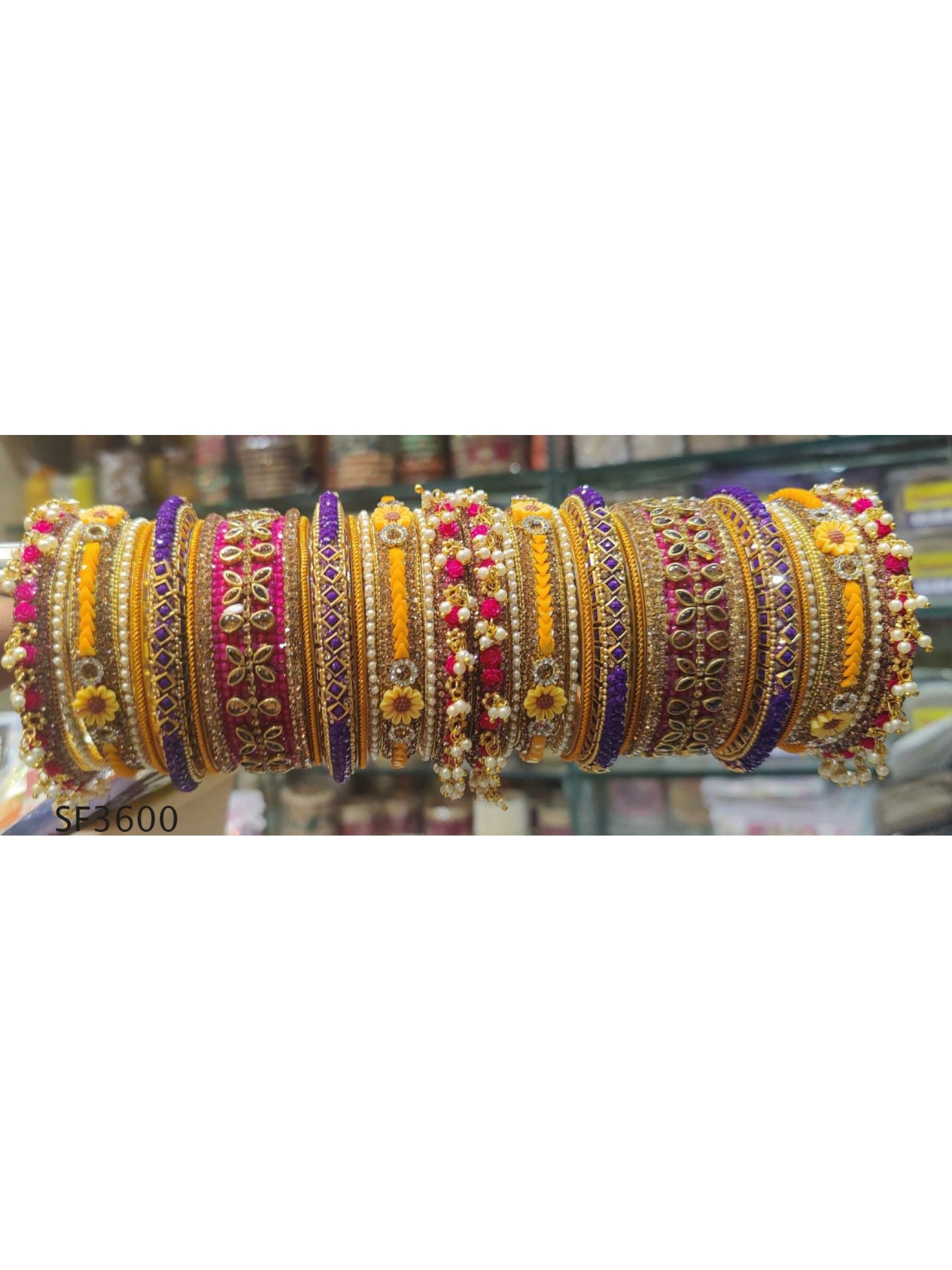 Golden Color Bridal Bangles With White Diamond