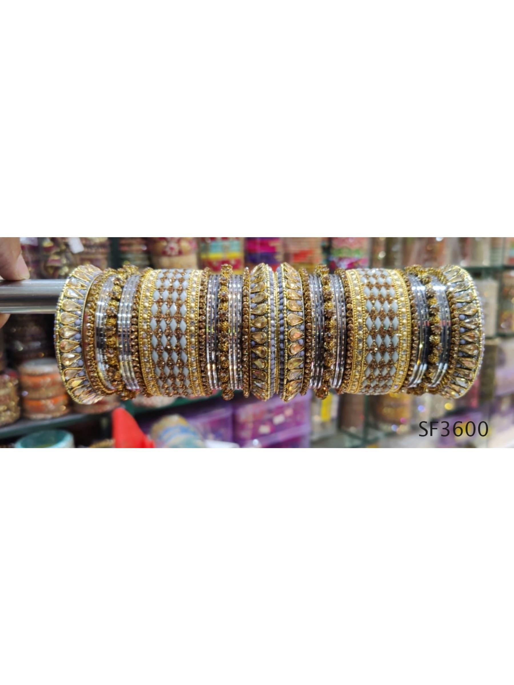 Golden & Grey Color Bridal Bangles With White Diamond