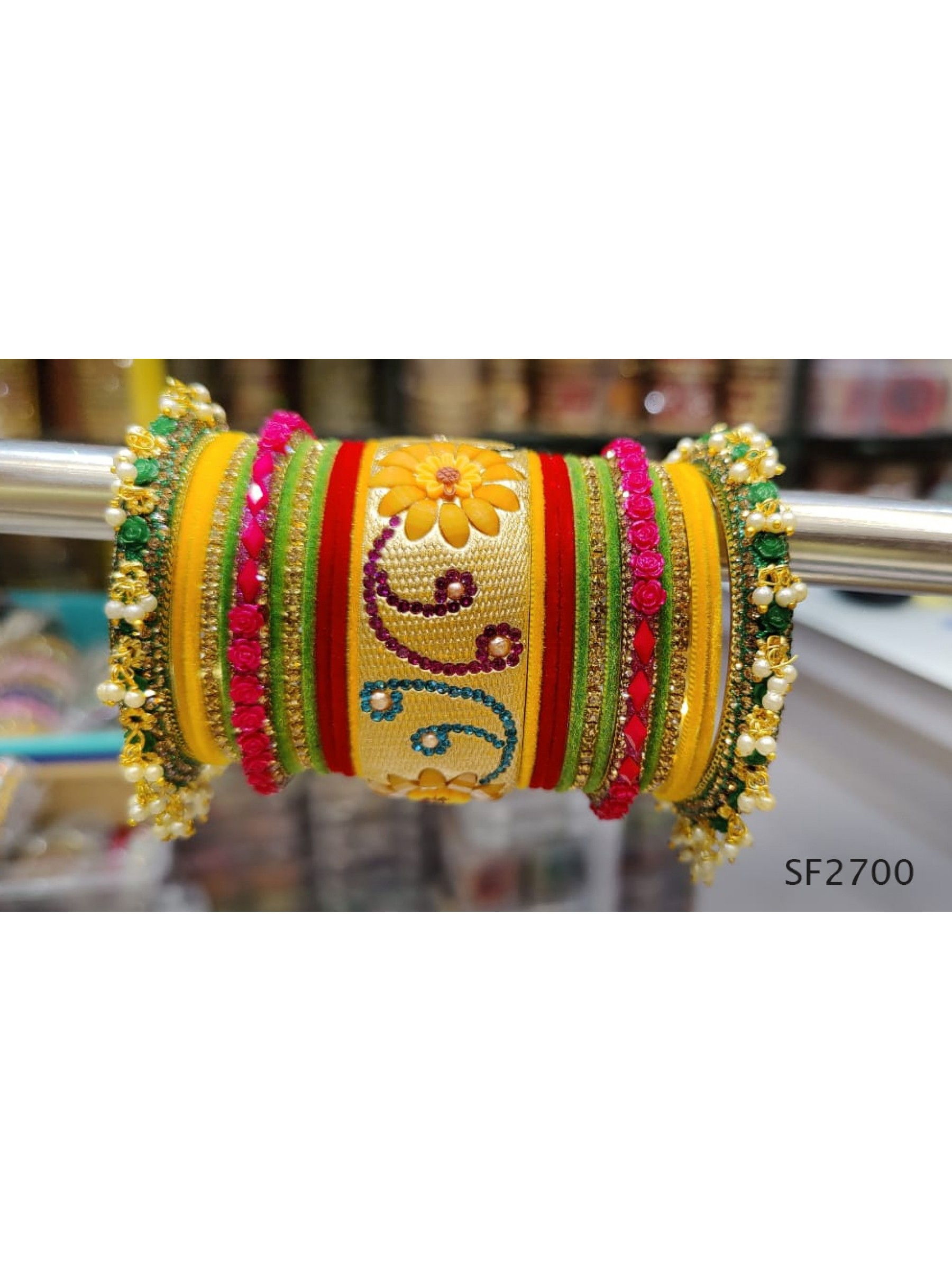 Yellow Color  Bangles With White Diamond And Pearl