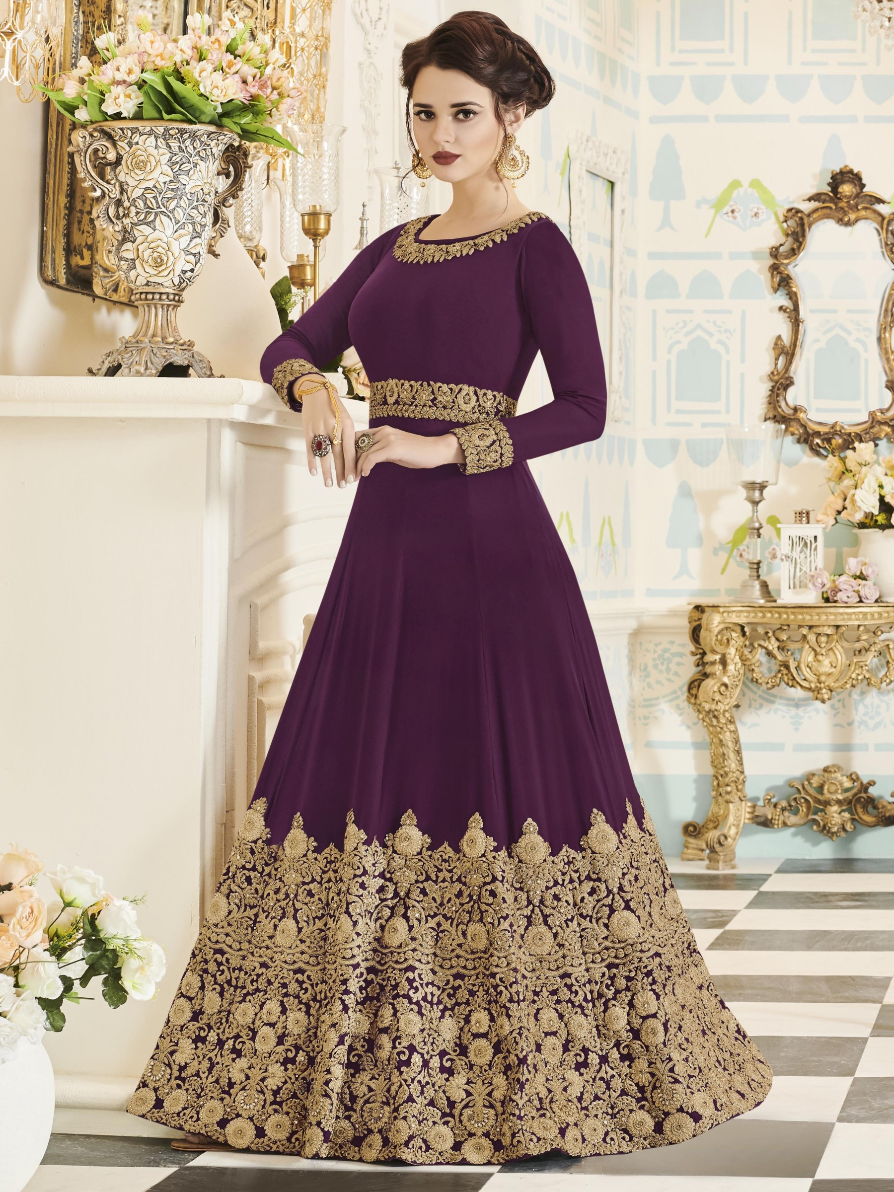 Georgette Party Wear Gown In Violet With Thread Work