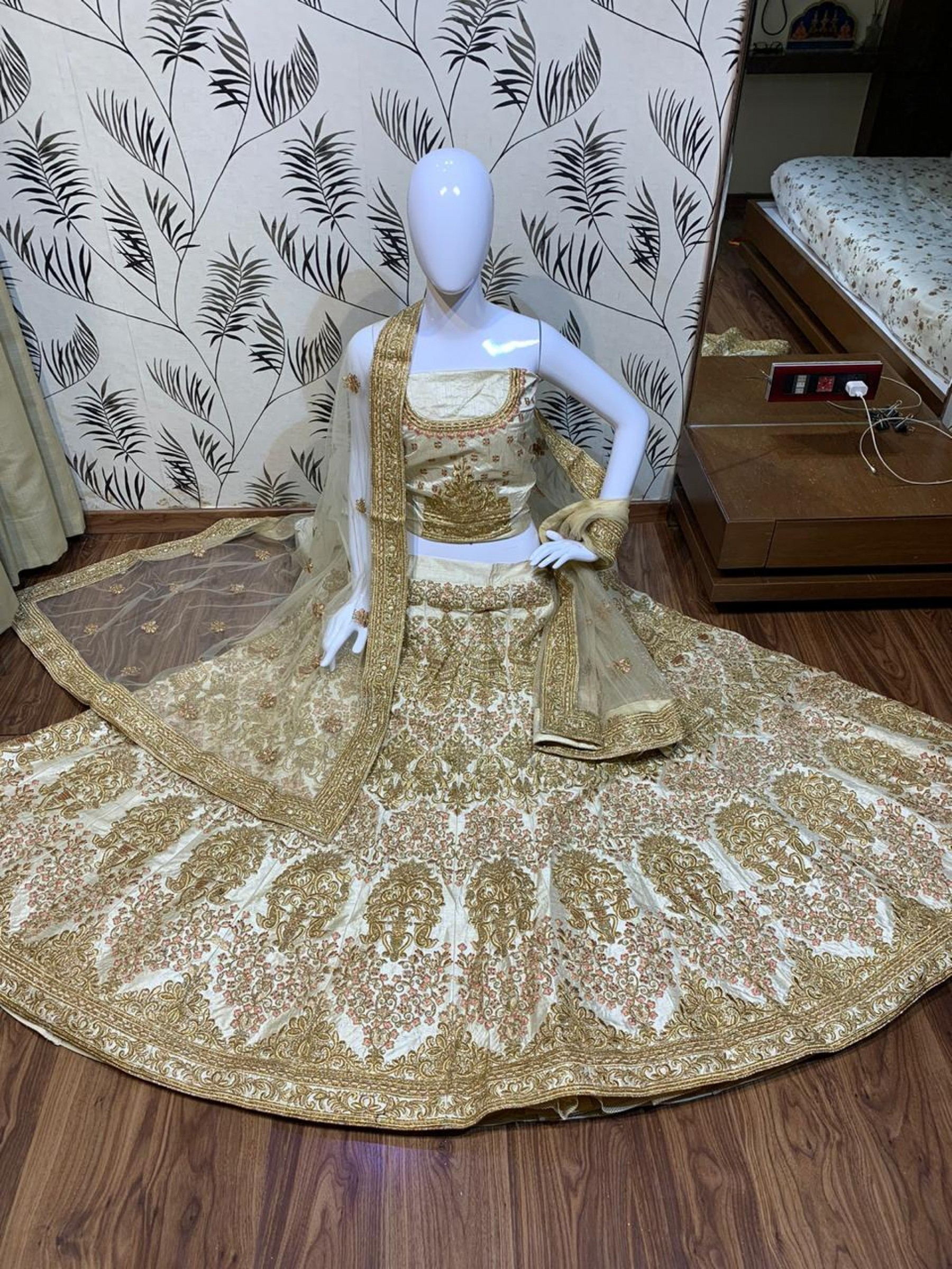 Satin silk Party Wear Lehenga In Pastel Cream Color With Embroidery Work