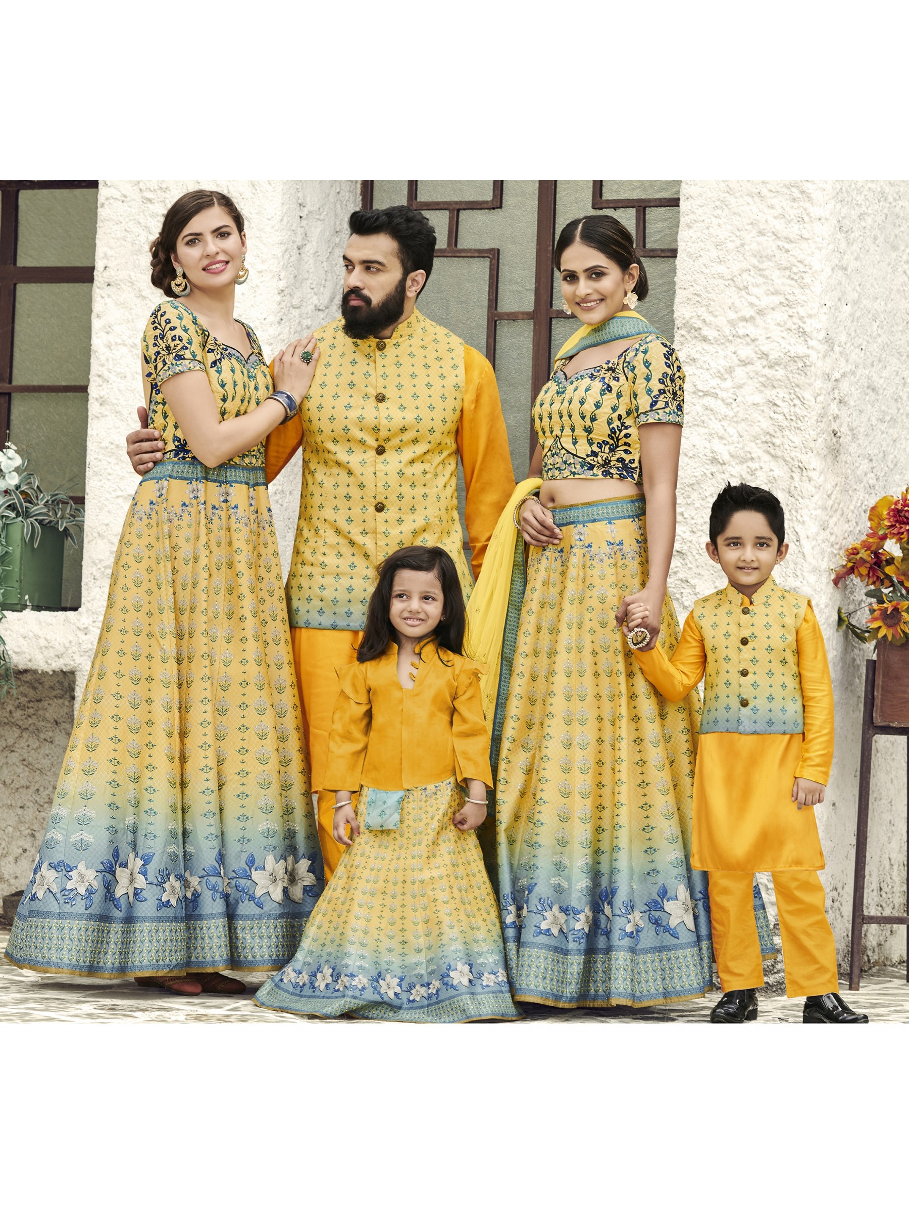 Pure Heritage Silk Wedding Wear Full Family Combo in Yellow color Digital Print Work & Stone Work