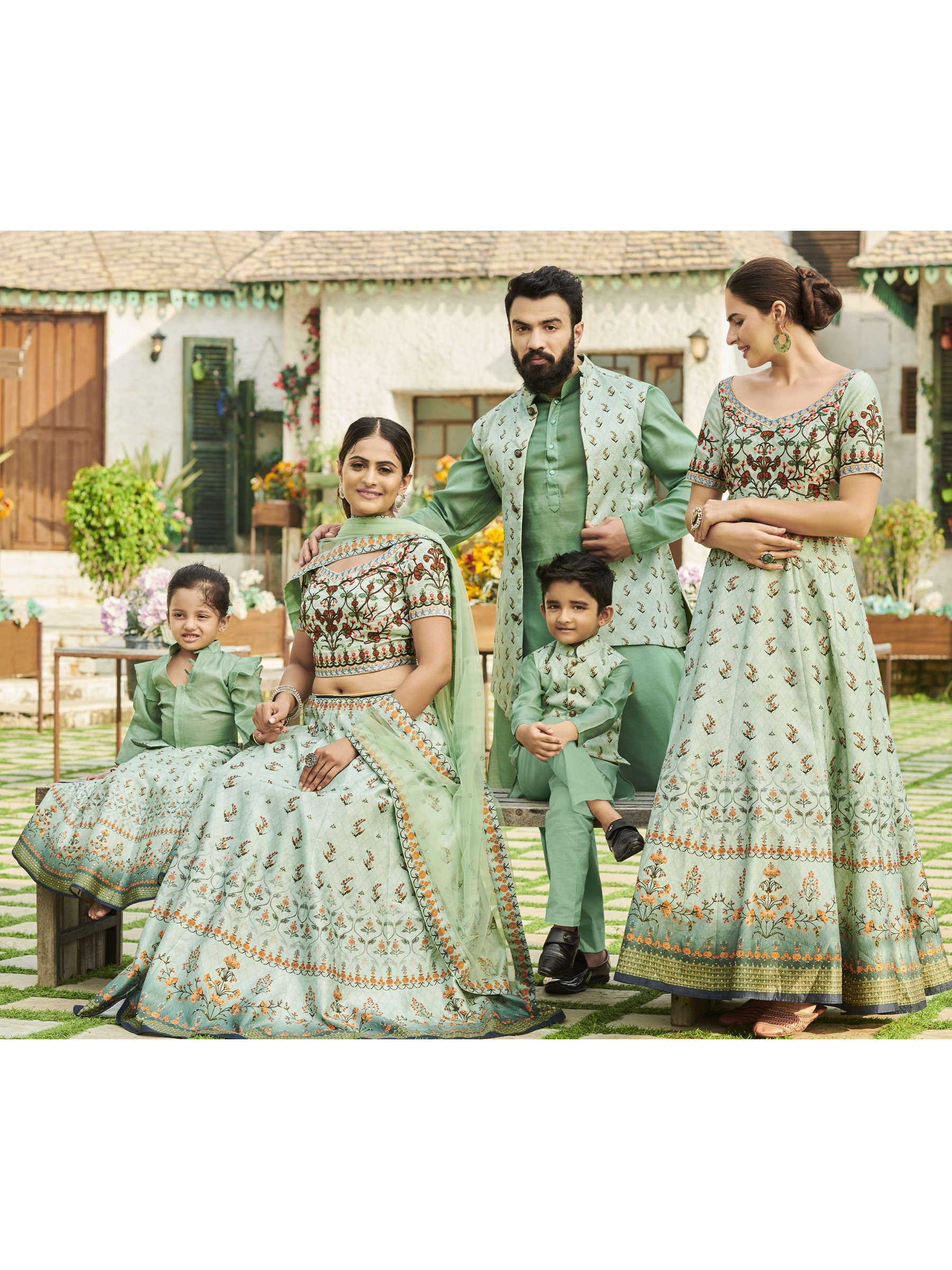 Pure Heritage Silk Wedding Wear Full Family Combo in Turquoise color Digital Print Work & Stone Work
