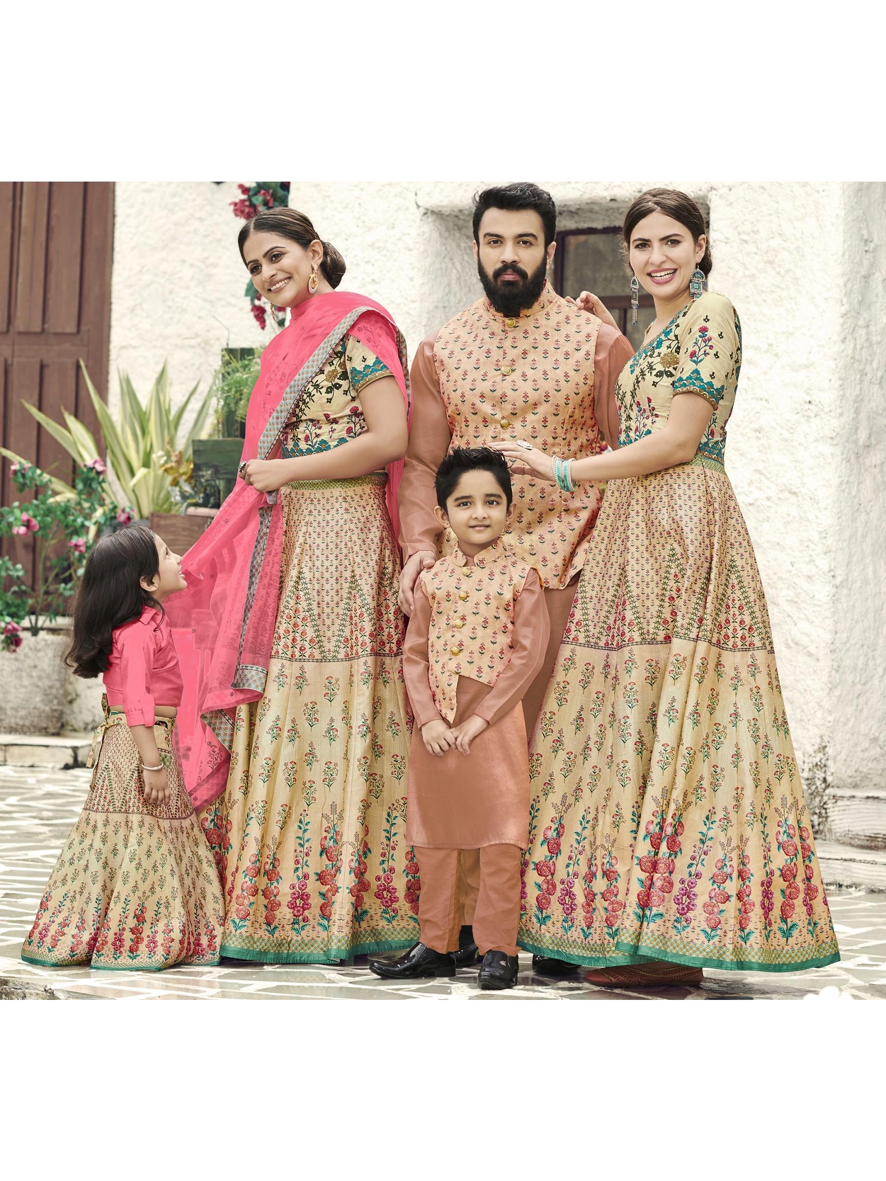 Pure Heritage Silk Wedding Wear Full Family Combo in Beige color Digital Print Work & Stone Work