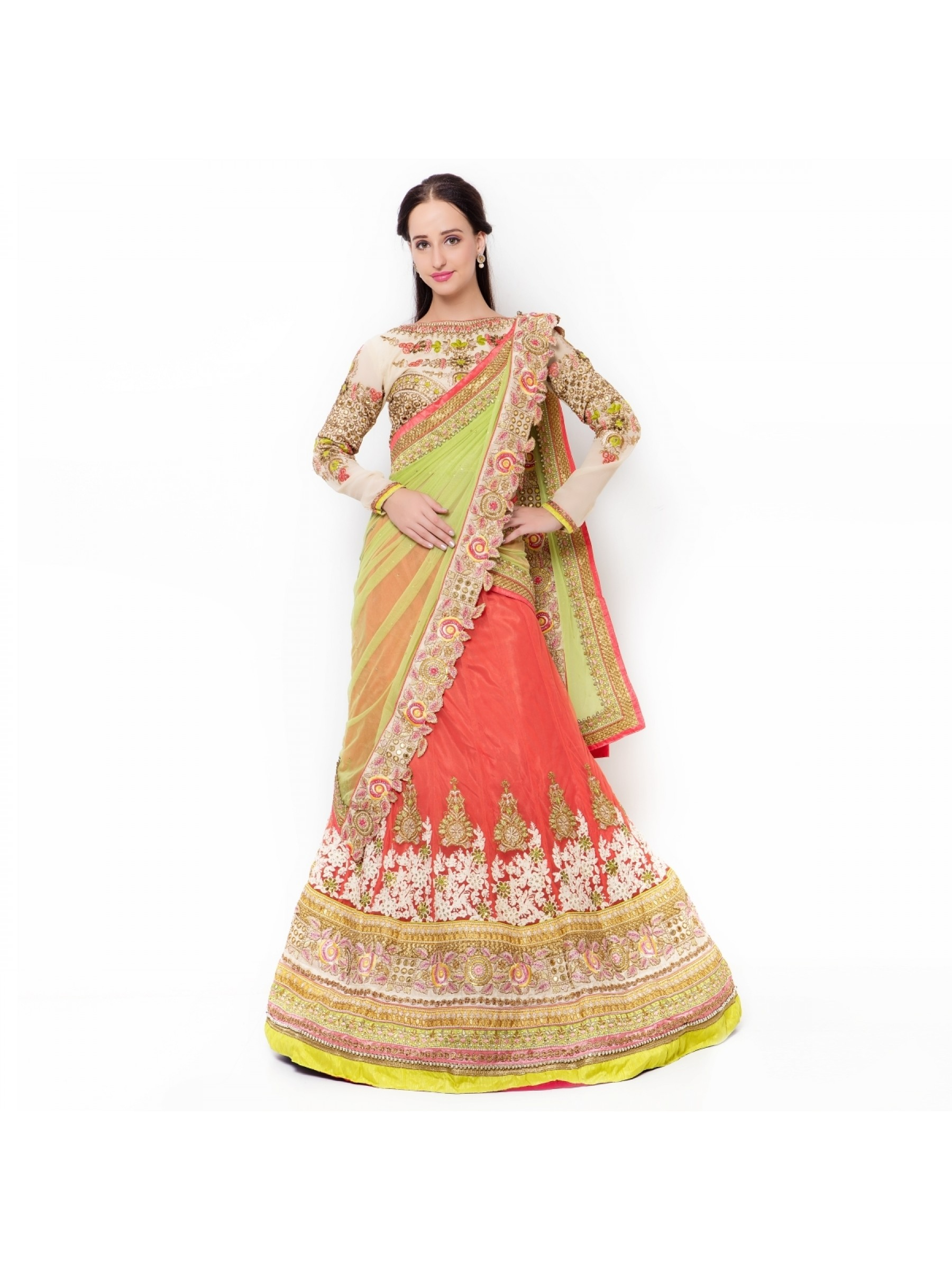 Soft Premium Net Party Wear Lehenga In Orange With Embroidery & Sequence Work