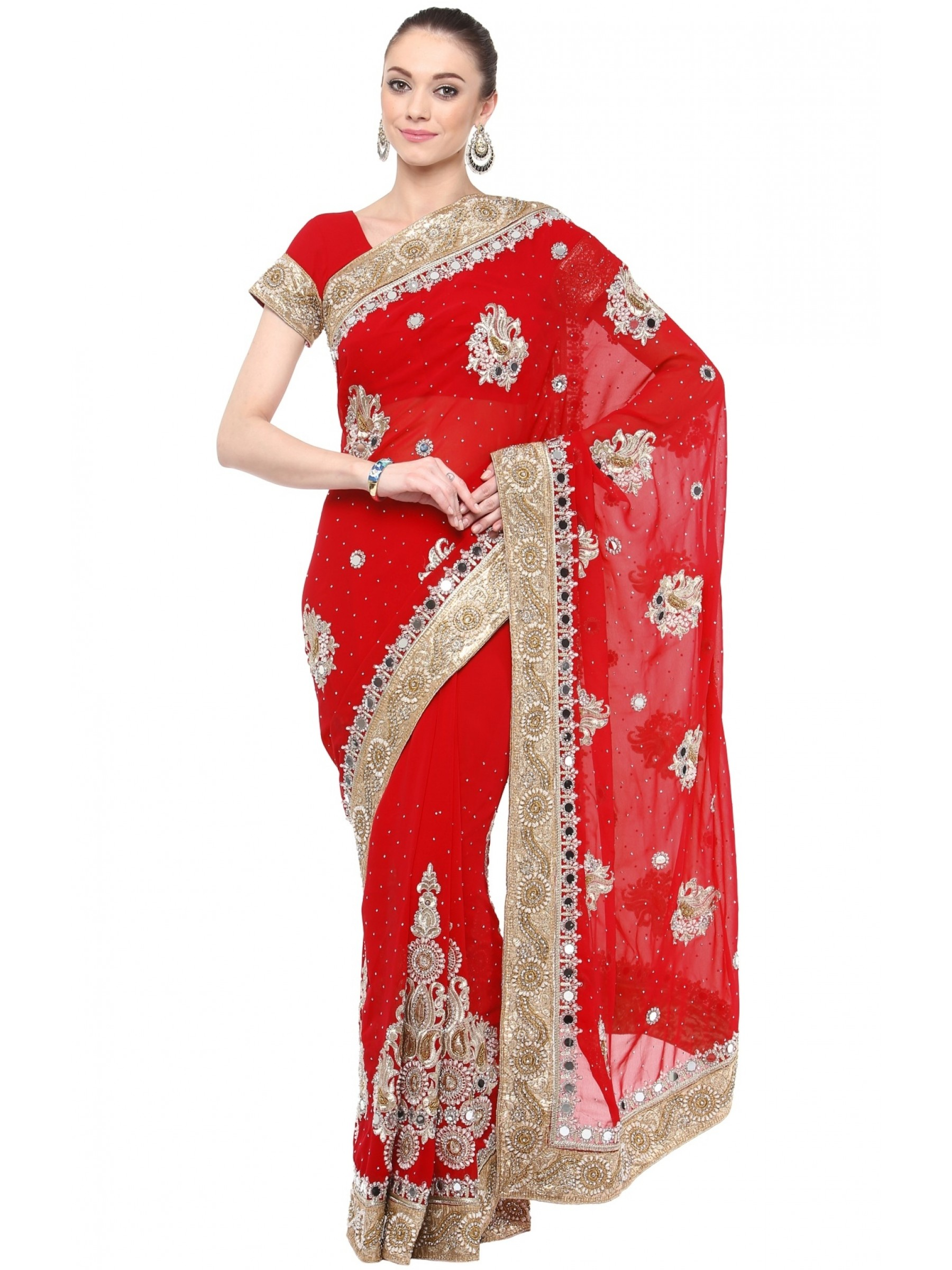 Georgette Wedding Wear Saree In Red With Embroidery & Crystals Stone Work