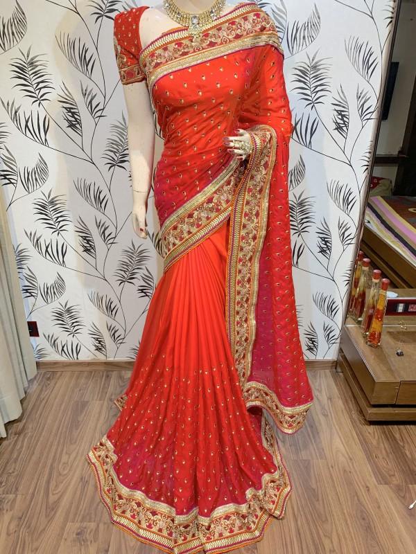 Pure Sateen Silk Wedding Wear Saree In Orange WIth Embroidery Work & Crystal Stone work