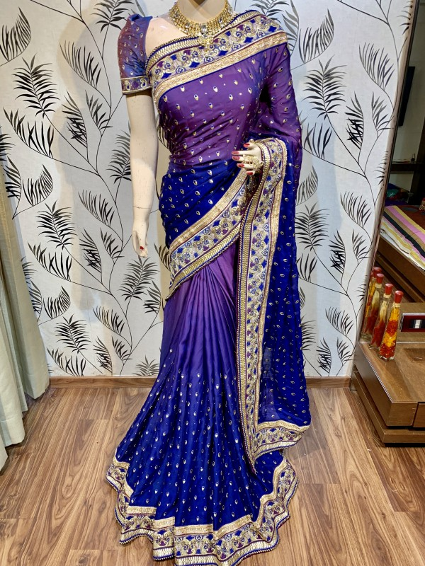 Pure Sateen Silk Bridal Wear Saree In Purple WIth Embroidery Work & Crystal Stone work