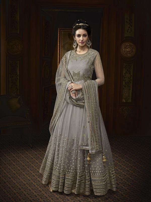Soft Butter Net Wedding Wear Gown In Grey With Swarovski Work