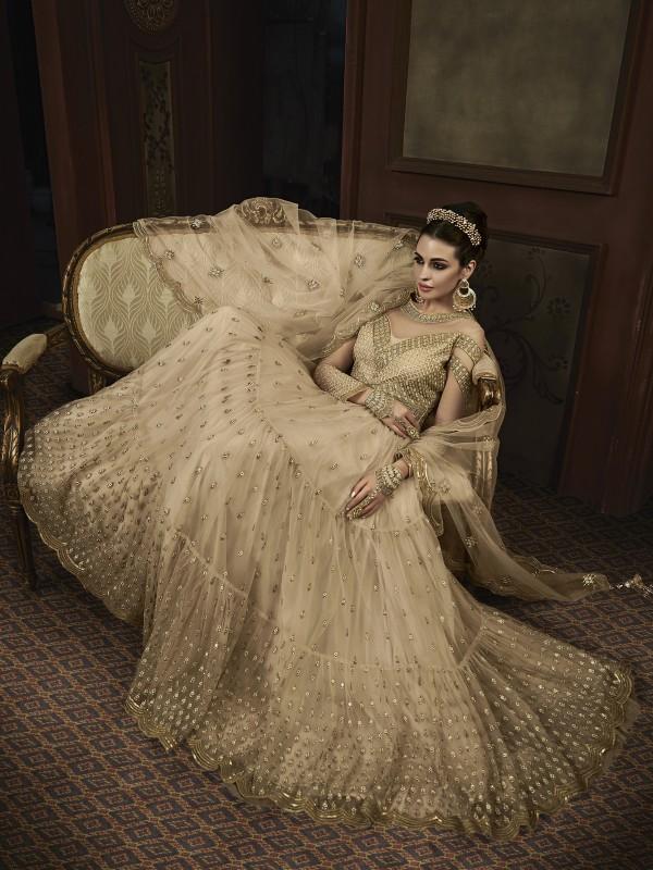 Soft Butter Net Wedding Wear Gown In Beige With Swarovski Work