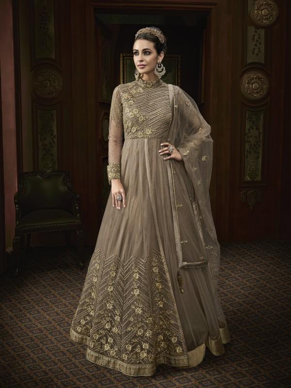 Soft Butter Net Wedding Wear Gown In Brown With Swarovski Work