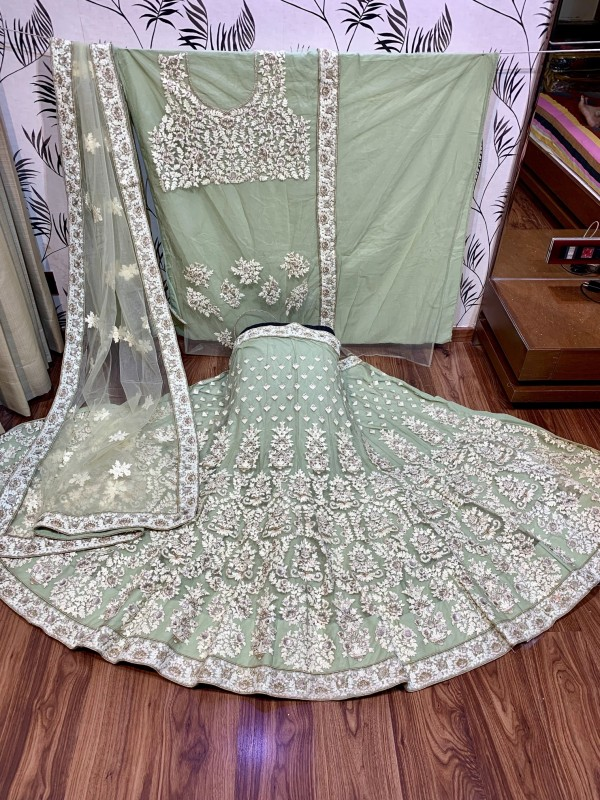 Soft Premium Net Party Wear Lehenga In Green With Embroidery & Pearl Work