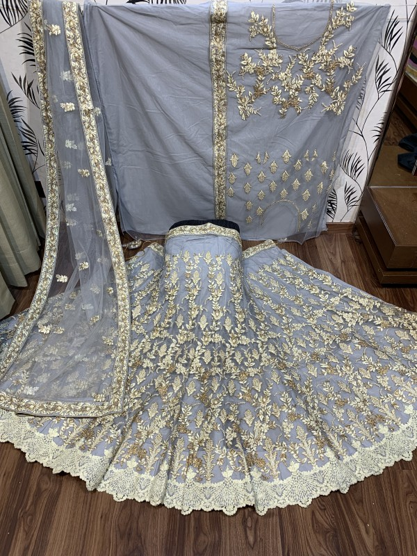 Soft Premium Net Party Wear Lehenga In Grey With Pearl Work