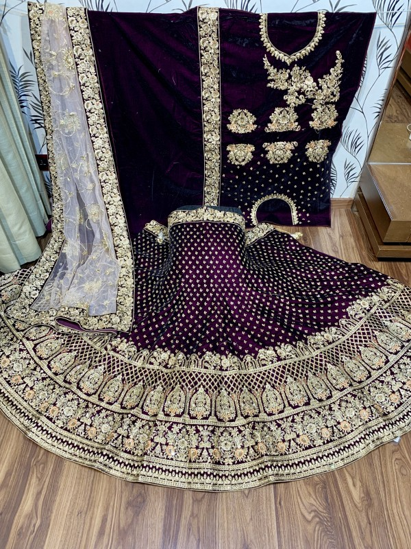 Pure Micro Velvet Bridal Lehenga In Purple With Embroidery & Stone Work