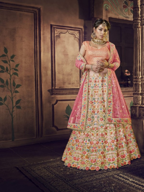 Pure Raw Silk Bridal Wear Lehenga In Light Pink Color With Embroidery Work & Stone Work