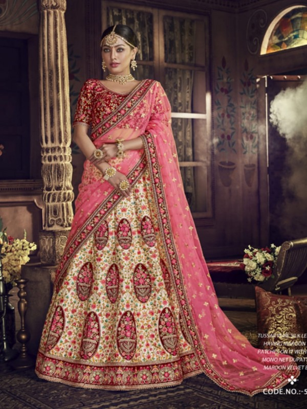 Pure Raw Silk Bridal Wear Lehenga In Tussar Color With Embroidery Work & Stone Work