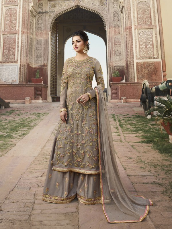 Soft Premium Net Wedding Wear Gown In Grey With Embroidery & Crystals Stone Work