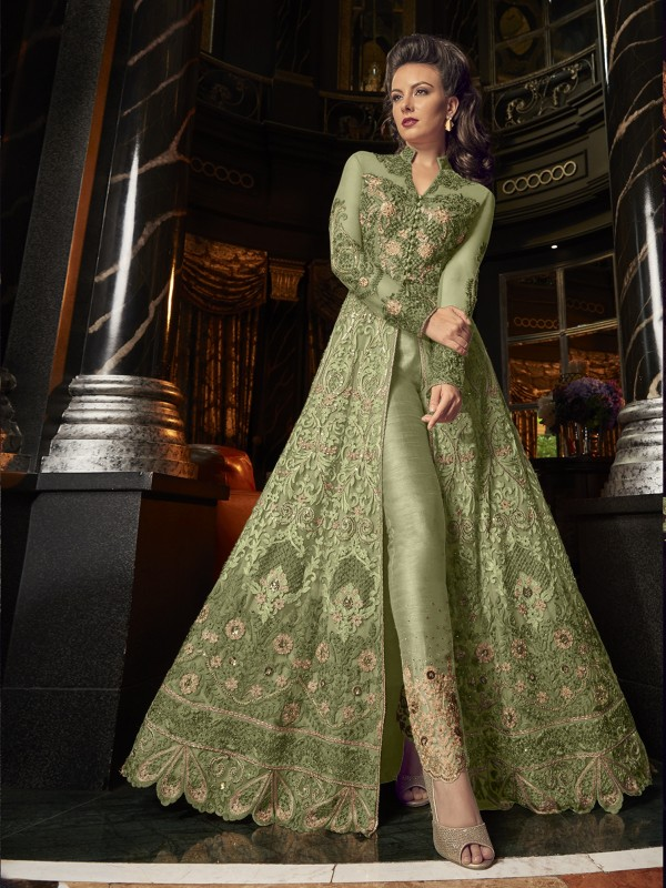 Crystal Stone Work Soft Premium Net Wedding Wear Gown In Green Color