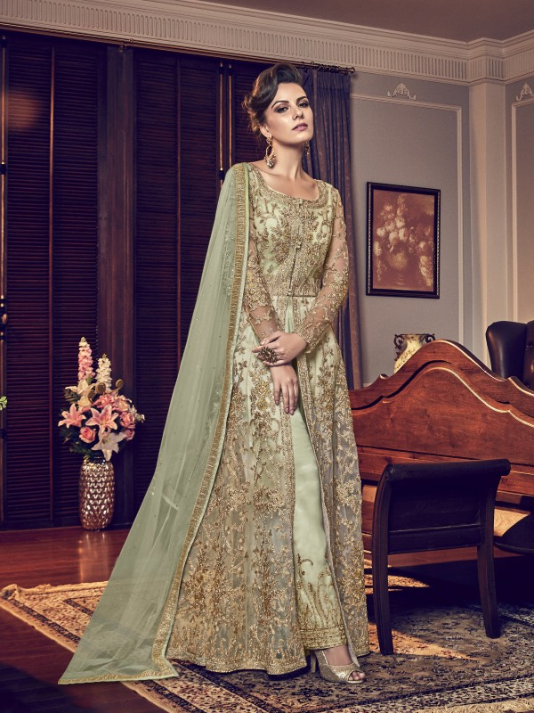 Soft Premium Net Wedding Gown In Light Green With Embroidery Work & Stone Work