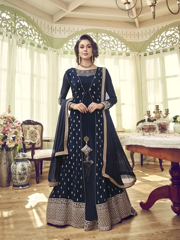 Georgette Wedding Gown In Blue With Embroidery Work & Stone Work