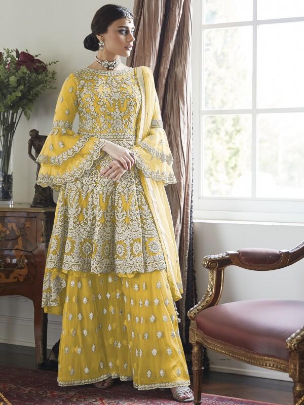 Soft Premium Net  Sharara in Yellow  with Thread &Stone  work