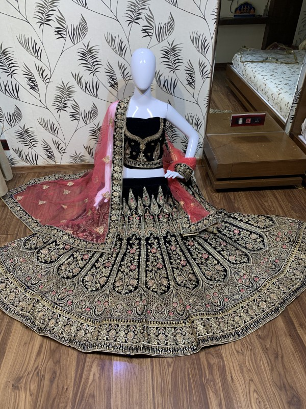 Pure Micro Velvet Bridal Wear Lehenga In Blue Color With Embroidery Work & Crystal Stone Work