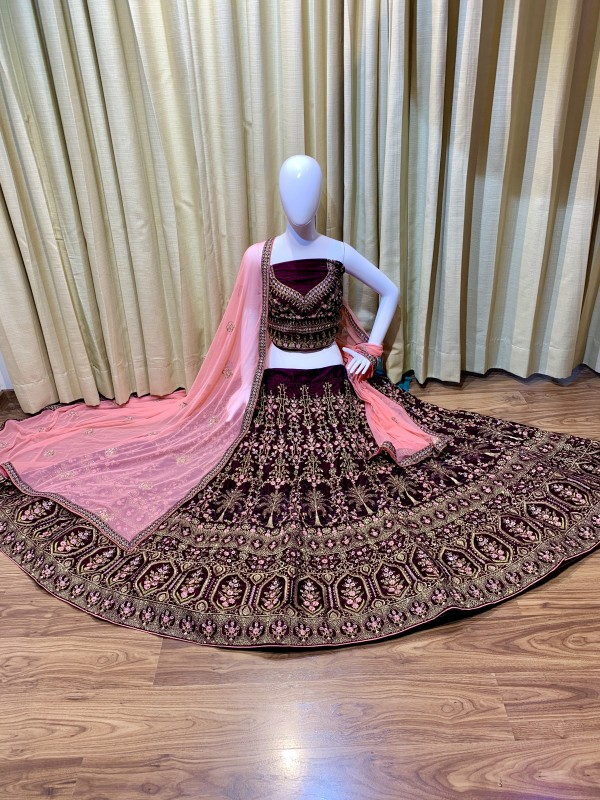 Pure Micro Velvet Bridal Wear Lehenga In Voilet Color With Embroidery Work & Crystal Stone Work