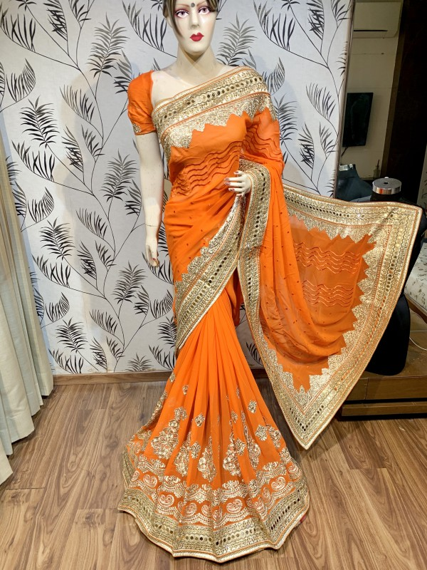 Georgette Fabrics Wedding Wear Saree In Orange With Embroidery Work & Crystal stone work