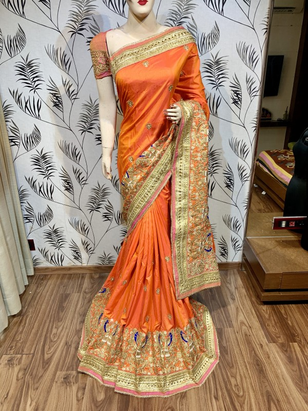 Mal Mal Silk Wedding Wear Saree In Orange color With Embroidery Work & Crystal stone work