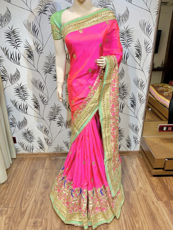 Mal Mal Silk Wedding Wear Saree In Pink With Embroidery Work & Crystal stone work