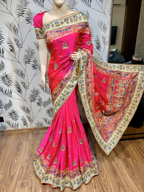 Mal mal Silk Wedding Wear Saree In Pink With Embroidery work & Handwork