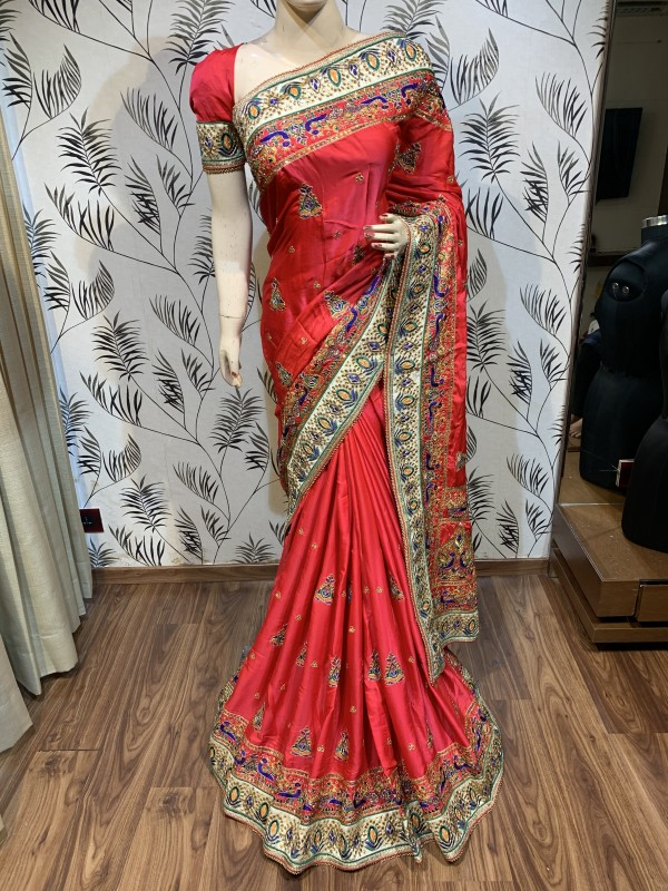 Mal mal Silk Wedding Wear Saree In Red With Embroidery work & Handwork