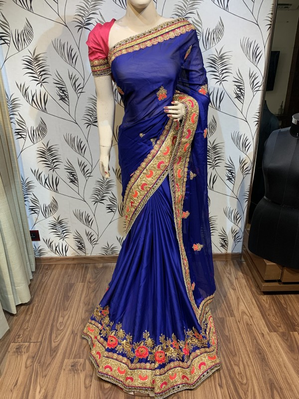 Turkey Chiffon Silk Wedding Wear Saree In Blue With Embroidery work & Stone work