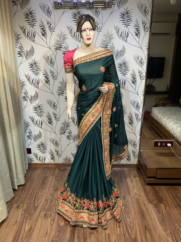Turkey Chiffon Silk Wedding Wear Saree In Green With Embroidery work & Stone work