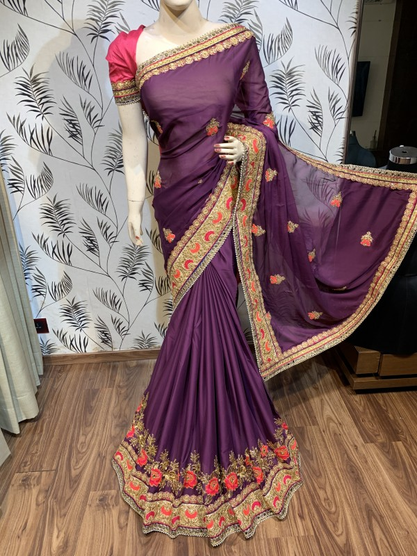 Turkey Chiffon Silk Wedding Wear Saree In Violet With Embroidery work & Handwork