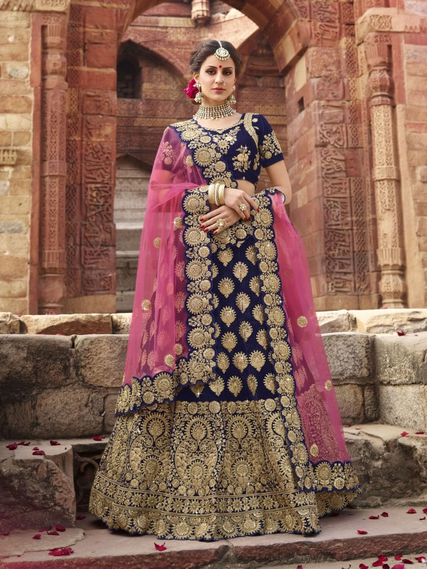 Pure Micro Velvet Wedding Lehenga In Blue With Stone Work