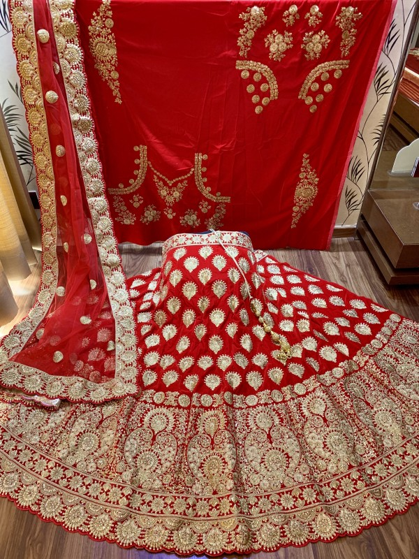 Pure Micro Velvet Wedding Lehenga In Red With Stone Work